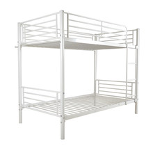 【US Warehouse】Iron Bed Bunk Bed with Ladder for Kids Twin Size White (Bed ) Free Shipping USA(China)