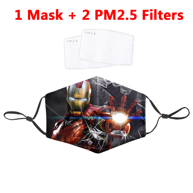 Fashion Iron Man Mask Washable Proof Flu Bacteria Mask Reusable Anti Dust Mouth Masks Protective PM2.5 Filter Fabric Face Mask