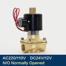 """Válvula Solenoide eléctrica de 1/4 """", 3/8"""", 1/2 """", 3/4"""", 1 """", DN8/10/15/20/25/50, neumática normalmente abierta para agua, aceite, aire, 12V/24V/220V/110V"""