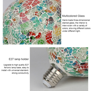 Image 5 - Classic design LED colorful light bulb chandelier mosaic color gold plated glass mirror ball chandelier