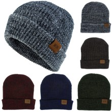 Men Womens Hat New Women Keep Warm Winter Casual Knitted Acrylic Wool Hemming Ski Fitted Cap Casquette