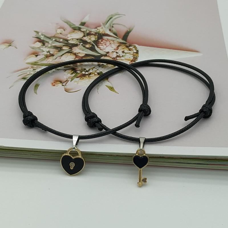 2 pcs set Couple Trendy Bracelet For Friend Lock Key Design Black Color Rope Bracelet Wholesale & Drop shipping Jewelry