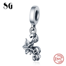 SG 925 sterling silver Plant and insect charm with Flower cute seven-spot ladybug charms beads diy jewelry for women gifts