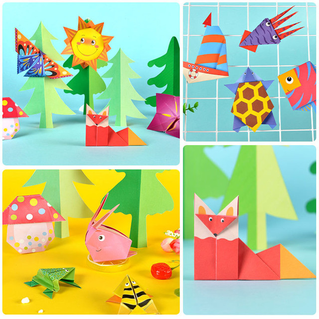 Cartoon Origami Paper Colorful Book Children Toy Animal Pattern 3D Puzzle Handmade DIY Craft Papers Educational Toys 108 PCS 3