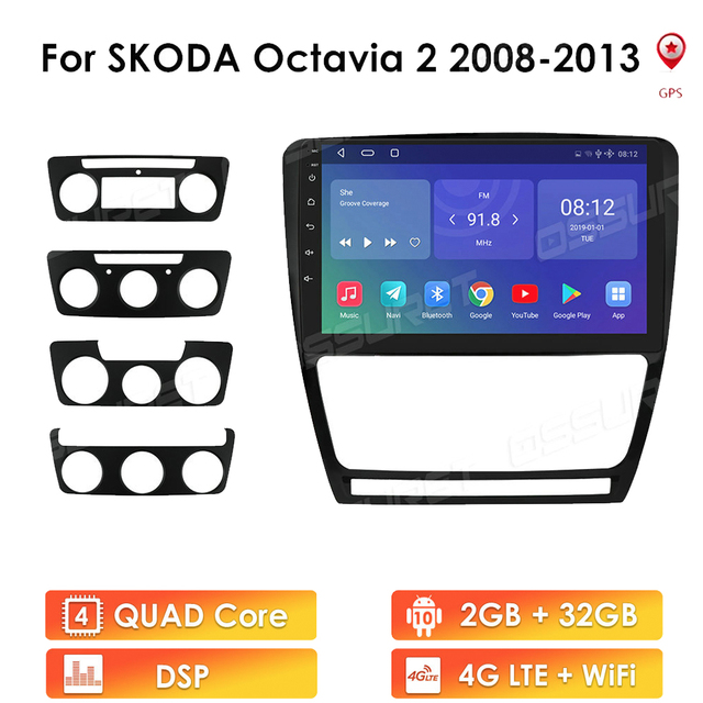 Auto Radio Multimedia Player Für SKODA Octavia 2 A5 2008 2013 4G LTE Android 10,0 Video Navigation GPS 2Din DVD