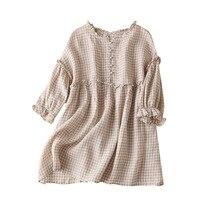 Linen Plaid Vintage blouse women 2020 summer 3/4 sleeve plain women shirt blusas de verano mujer de moda women's clothing