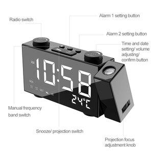 Image 2 - Цифровой будильник с проекцией FM радио, будильник с повтором сигнала, термометром, настольные часы с USB светодиодами, будильник, украшение для дома