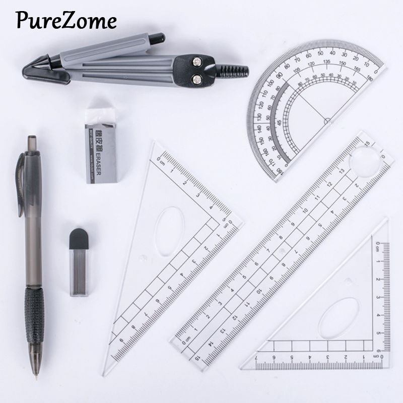 8pcs/set Portable Precision Geometry Protractor Drawing Compass Ruler Pencil Essentials Math Study Tool Kit