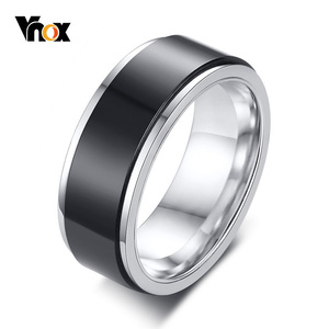 Vnox 8mm Rotatable Black Ring for Men Stainless Steel Metal Double Layered Band Finger Jewelry