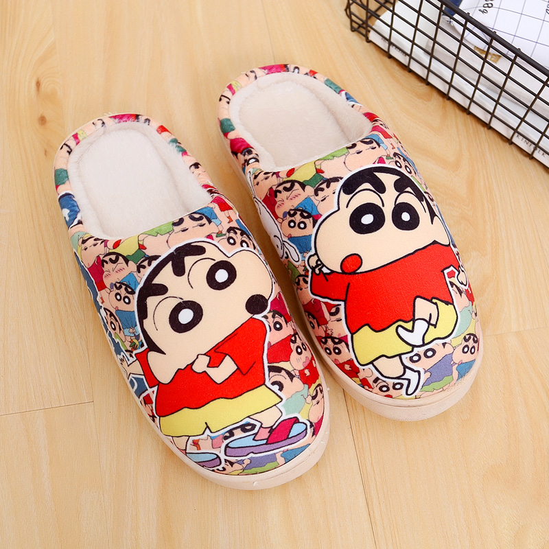Wholesale Japanese Cosplay Crayon Shin-chan Anime Shoes Winter Warm Soft Plush Antiskid Indoor Home Slippers For Xmas Gifts