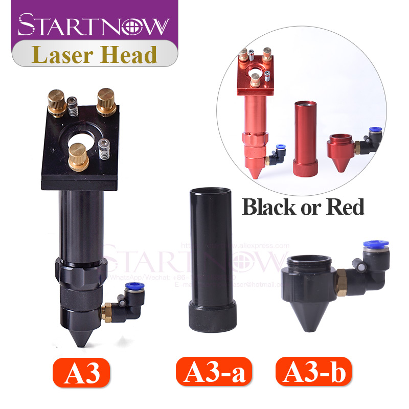 CO2 Laser Head Set With Focus Lens Device And 3rd Mirror Mount & Air Nozzle CO2 Laser Jet For Laser Machine Mechanical Parts