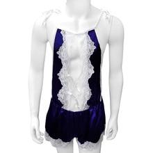 Sexy Satin Sissy Lingerie Sleepwear Lace Soft Shiny Bodysuit Crossdresser Nightwear  Nighty pajama For Men