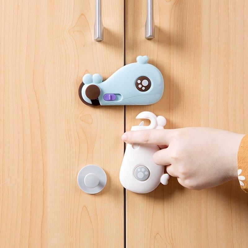 Drawer Cabinet Locks Baby Safty Protector Door Cupboard Safety Locks Baby Kids Cartoon Whale Locks Straps Baby Protection