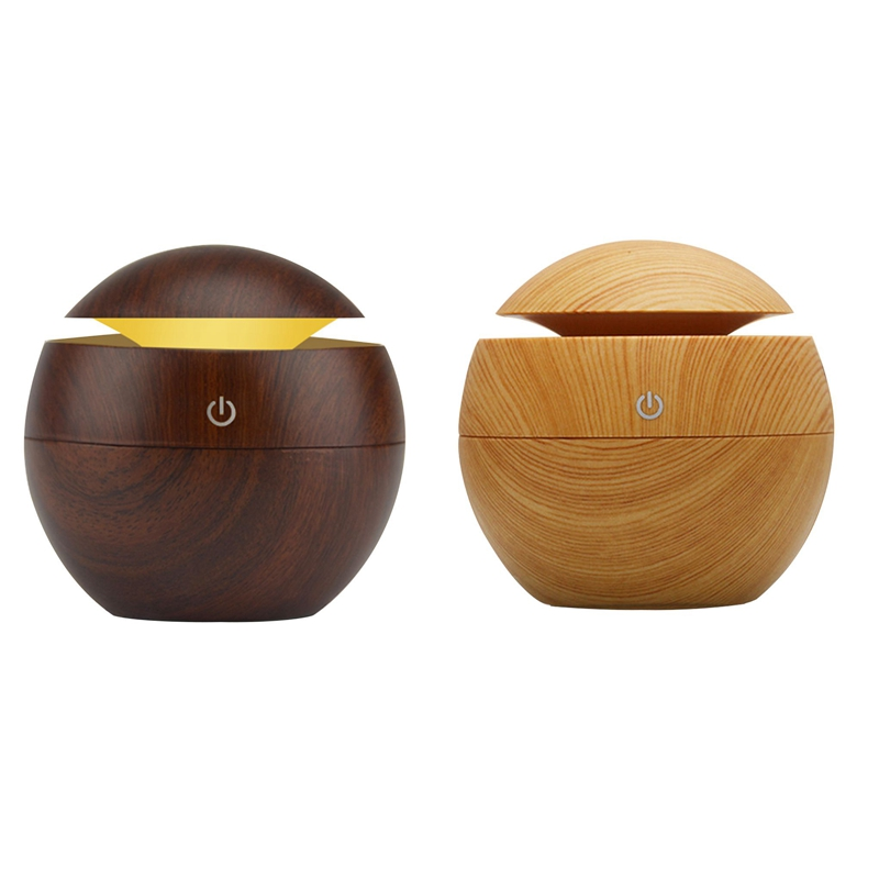 2 Pcs USB Aroma Humidifier ESSential Oil Diffuser Ultrasonic Cool Mist Humidifier Air Purifier 7 Color Change LED Night Light Fo