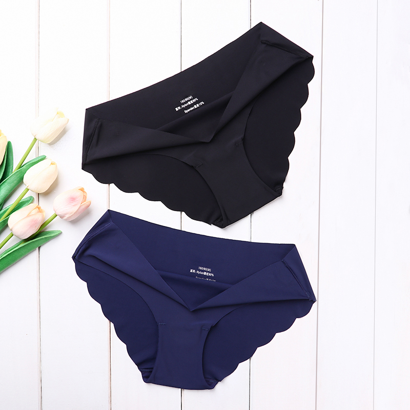 High Quality Women's Seamless Panties Solid Ultra-thin Panties Underwear Women's Sexy low-Rise Ruffles Briefs Lingerie New(China)