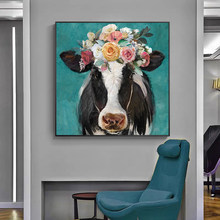 Animal Art Cow with Flowers on Its Head Posters and Prints Canvas Paintings Wall Art Pictures for Living Room Decor (No Frame)