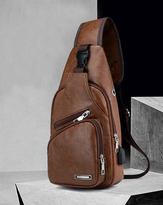 Business Travel Daypack Sling Shoulder Bag Crossbody Bag Vintage Men Leather Chest Bag USB Charging Port