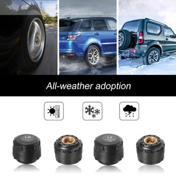 Touch Solar Wireless Tire Pressure Monitoring System TPMS with 4 External Sensors Audio Alarm Measuring Pressure/Temperature careud t801 nf auto car tpms tire pressure solar panel monitoring system with 4 internal sensors