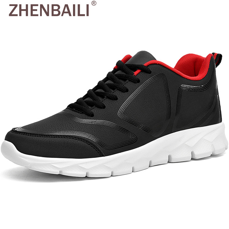 ZHENBAILI Male Casual Shoes 2019 Autumn Spring Flat Sneakers Men Outdoor Casual Sport Running Sneaker Leather Trainers Plus Size