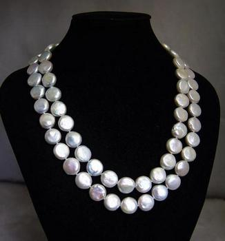 Unique Pearls jewellery Store White Coin Genuine Freshwater Pearl Necklace Charming Women Gift Fine Jewelry