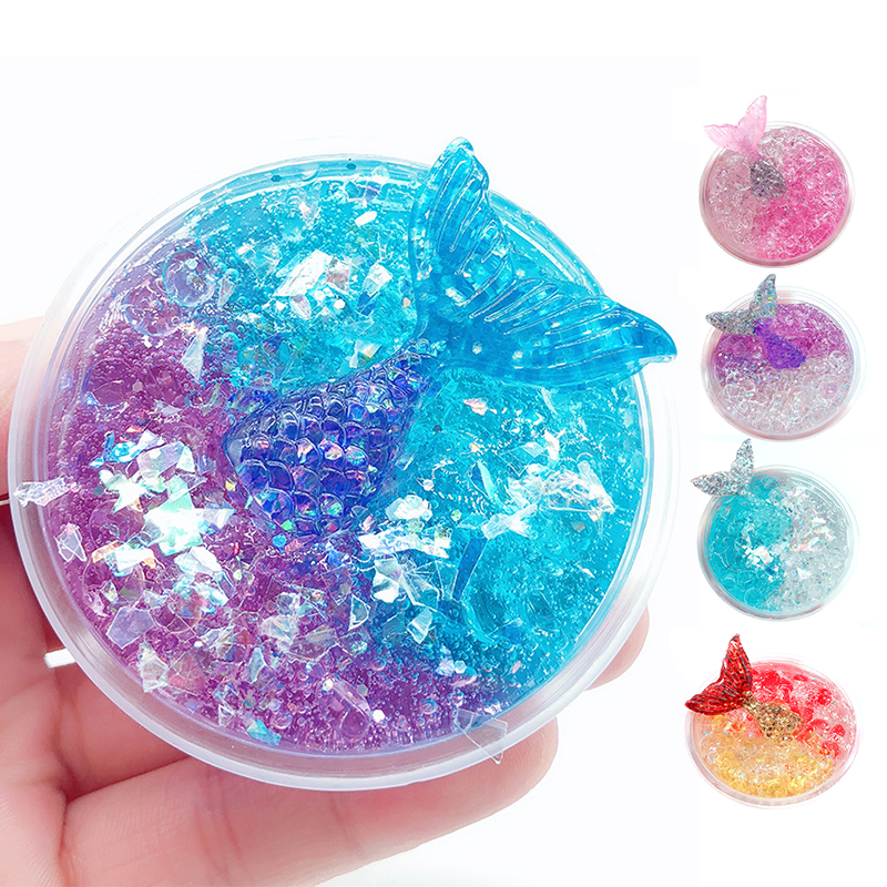 60ML Slime Crystal Mud Clear Galaxy Slime Mermaid Fish Lizun Handgum Antistress Toy For Children Kids Playdough Slime Putty Mud