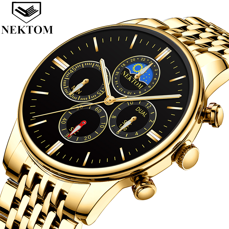 NEKTOM 2019 Men's Watch Top Brand Fashion Quartz Watch Stainless Steel Waterproof Business Watch Relogio Masculino