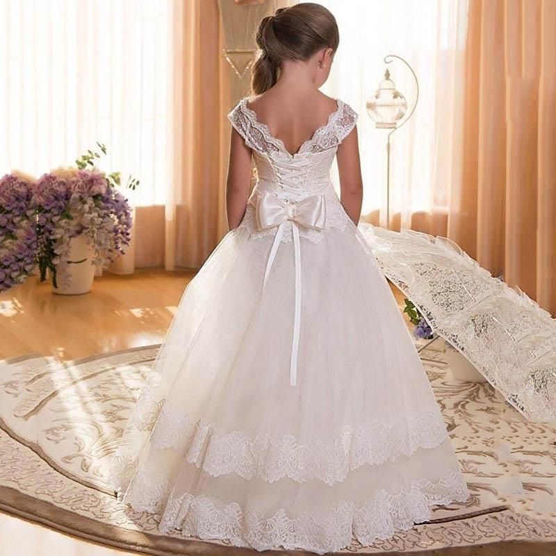 Flower Lace Long Tail Evening Girl Dresses First Communion Princess Dress Children Clothing Girls Ball Gown Bridesmaid Dresses