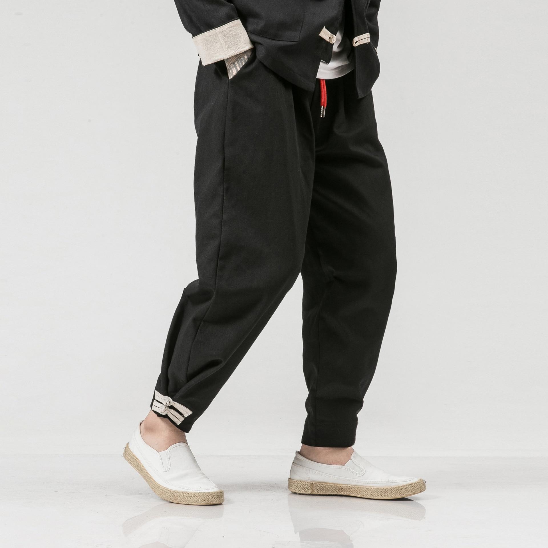 Origional Autumn Chinese-style Large Size MEN'S Casual Pants Frog Cotton Harem Pants Loose-Fit Skinny Capri Pants Men's