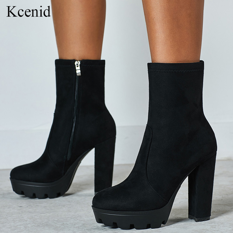Chunky High Heel Ankle Boots