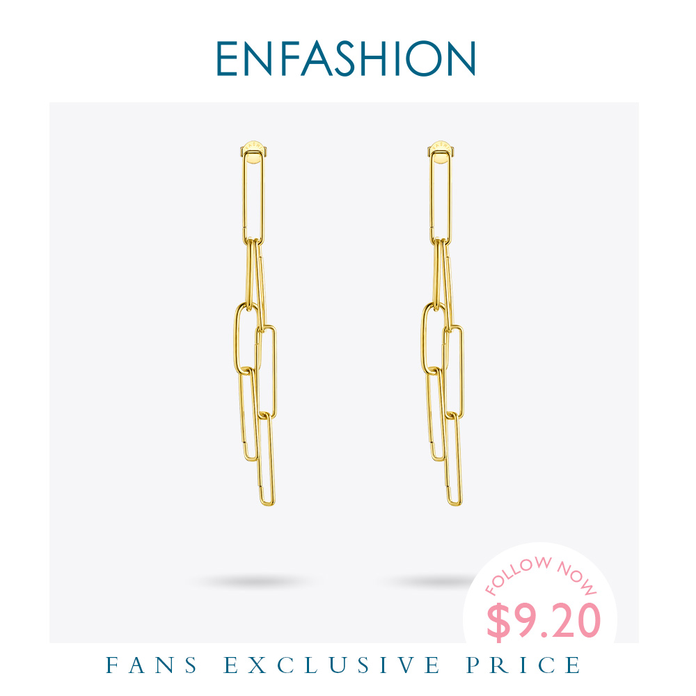 ENFASHION Boho Link Chain Drop Earrings For Women Gold Color Long Tassel Simple Dangle Earings Fashion Jewelry oorbellen E191111