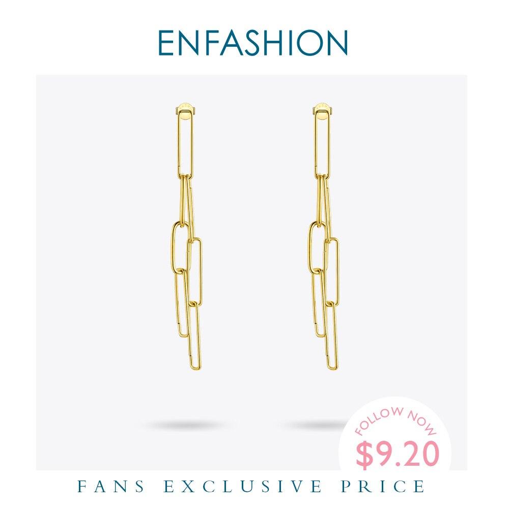 ENFASHION Boho Link Chain Drop Earrings For Women Gold Color Long Tassel Simple Dangle Earings Fashion Jewelry oorbellen E191111
