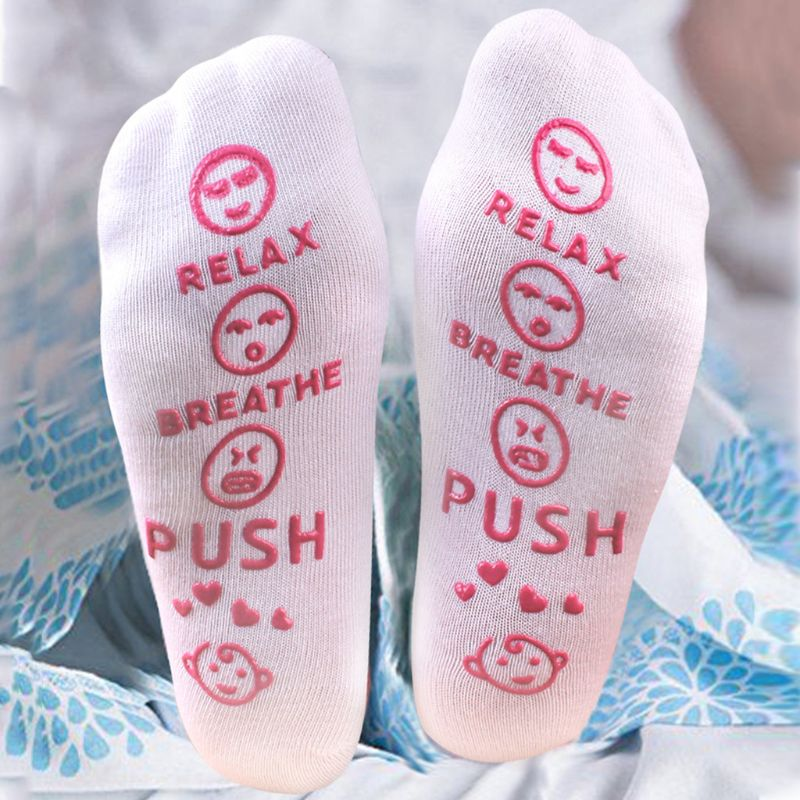 Women Mom Relax Breathe Push Letters Crew Socks Baby Shower Gift Non-Slip Rubber Emoji Pregnancy Present Labor Delivery Hosiery