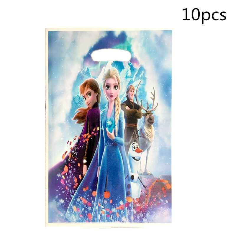 10pcs/lot Snow Queen Party Loot Bag Frozen 2 Theme Plastic Candy Bags Girls Kids Birthday Party Gift Supplies Wedding Decoration