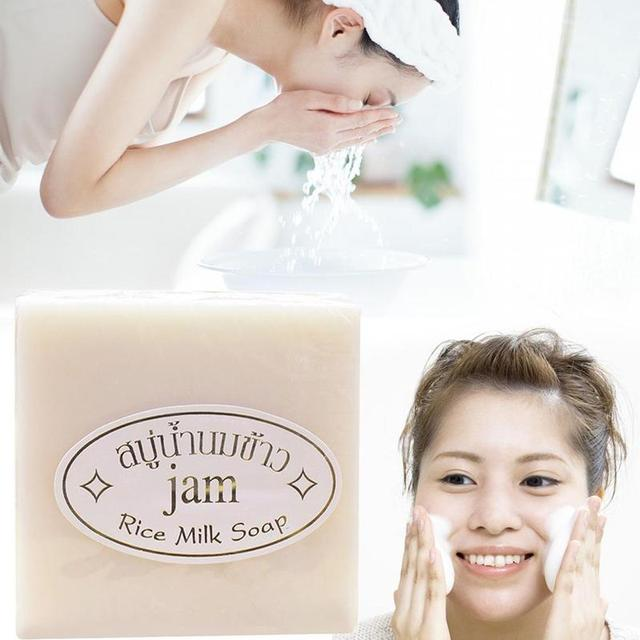 Handmade Rice Soap Thai Jasmine Rice Collagen Vitamin Skin Whitening Bathing Oil Control Whitening Moisturizing Tools 1
