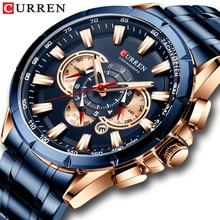 CURREN العلامة التجارية الفاخرة ساعة رجالي كوارتز الأزرق ساعة اليد الرياضة ساعة كرونوغراف الذكور سوار فولاذي غير القابل للصدأ ساعة الأعمال الموضة