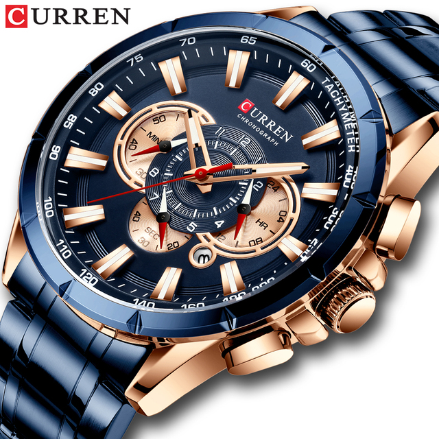 Curren marca de luxo relógio masculino azul quartzo relógio de pulso esportes cronógrafo relógio masculino banda aço inoxidável moda negócios