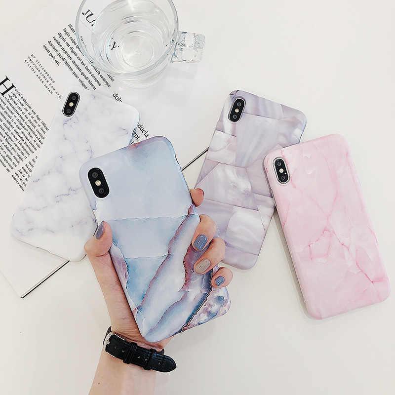 Lüks mermer telefon kılıfı için iphone 11 Pro Max XS Max X XR 7 8 artı 8 artı 7 artı 6 S 6 S durumda Coque silikon Fundas çapa Carcasa
