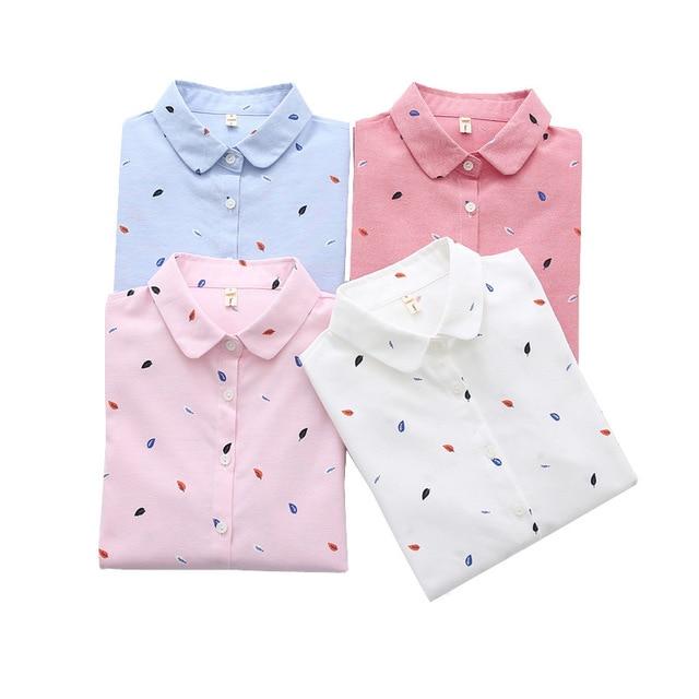 Print Shirts Women Tops 2020 Autumn Clothes Plus Size Loose Pink Blusa Feminina  Long Sleeve Women Blouse Cotton Blouses SL87 5