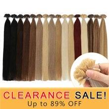 Extensions de cheveux 100% naturels non remy lisses, en kératine, 14 pouces, couleur Pure, Extensions de cheveux lisses, Fusion, liquidation, 50 pièces