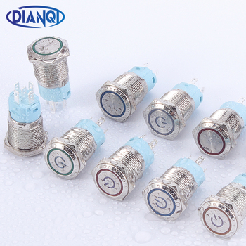 16mm metal push button switch power button Waterproof Flat circular button LED light self-lock self-reset button 1NO1NC 6V 12V 1