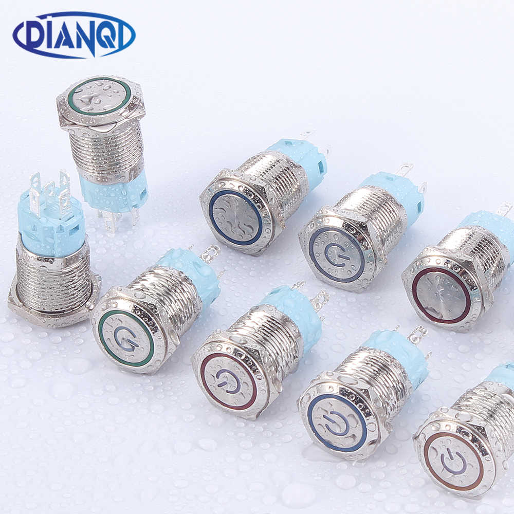 16Mm Logam Push Button Switch Tombol Daya Tahan Air Flat Tombol Bulat LED Lampu Self-Lock Self-Reset tombol 1NO1NC 6V 12V