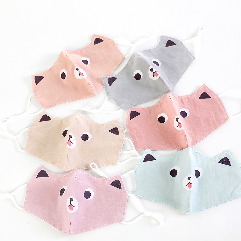 Spring New Style Small CHILDREN'S Bunny Printed Foldable Cotton Face Mask Outdoor Sun-resistant Breathable Anti-Dust Children Fa