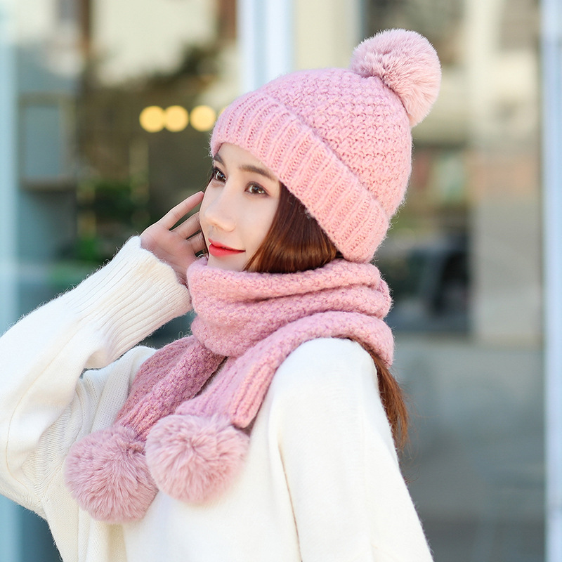 Women Thicken Winter Warm Set Hat And Ring Scarf Set Two-Piece Female Kitted Wool Hats Ring Scarves Unisex Beanie Hat Bonnet