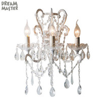 American style 3 Light antique wall chandeliers wrought iron retro luxury bedroom bedside lamp living room crystal wall sconces