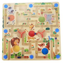 2 in 1 Magnetic Maze with Flying Chess Double-faced Labyrinth Educational Interactive Toys, Forest