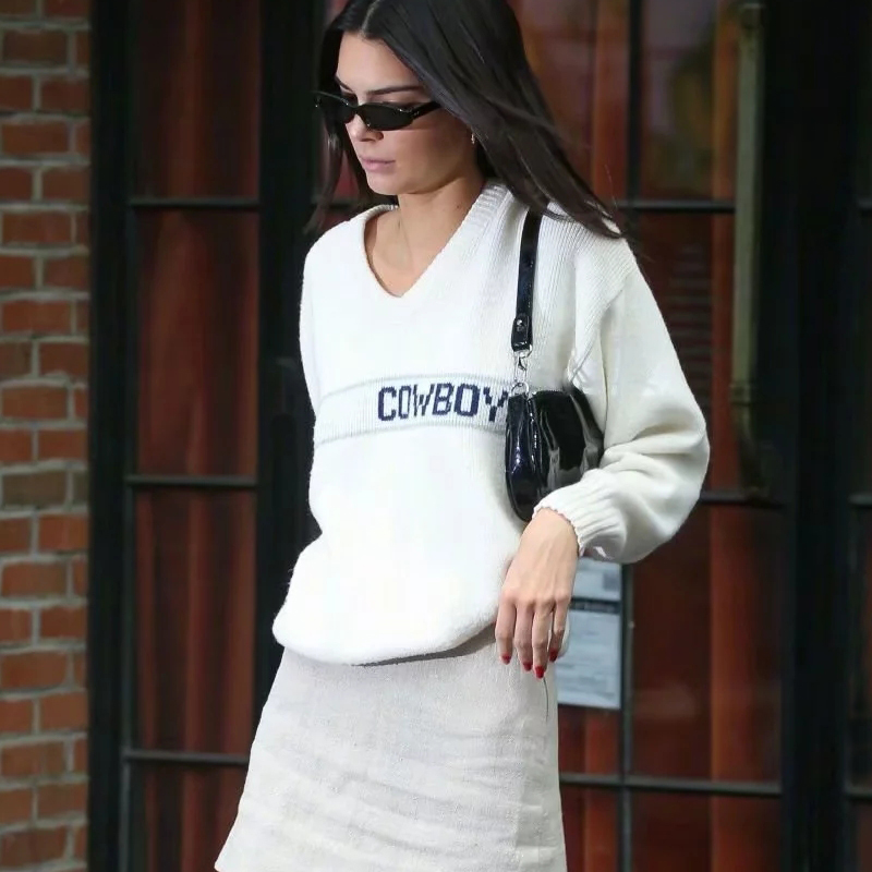 Women V Neck Letters Knit Jumper Casual Knit Pullover
