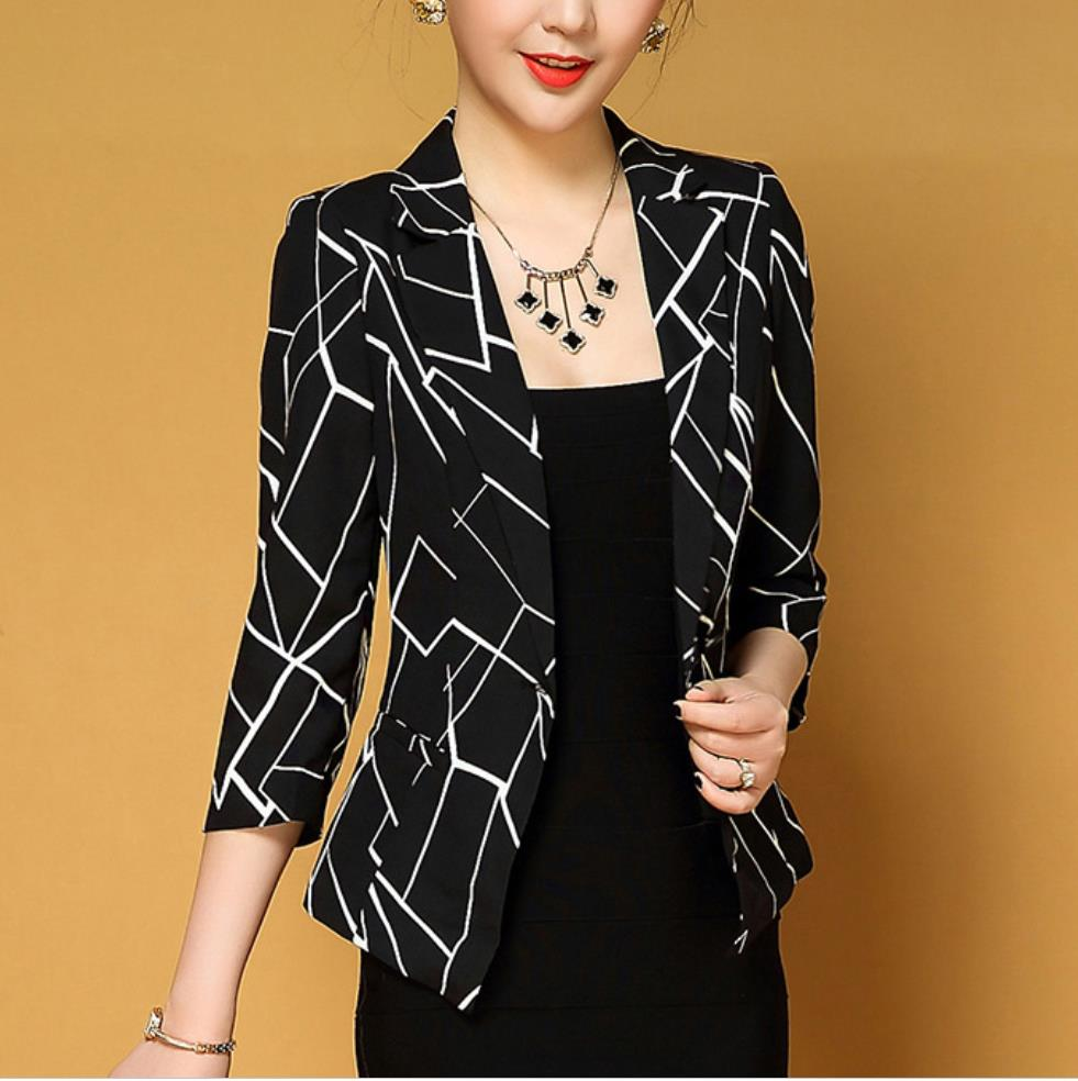 Fashion New Spring Autumn Blazers And Jackets Lady Office Work Wear Women Long Sleeve One Button Female Blazer Black White Coat