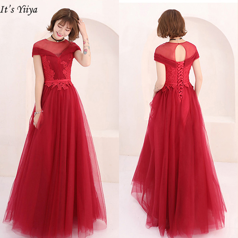 It's Yiiya   Evening     Dress   Burgundy Plus Size A-Line Women Party   Dresses   Short Sleeve O-Neck Embroidery Robe De Soiree LX975