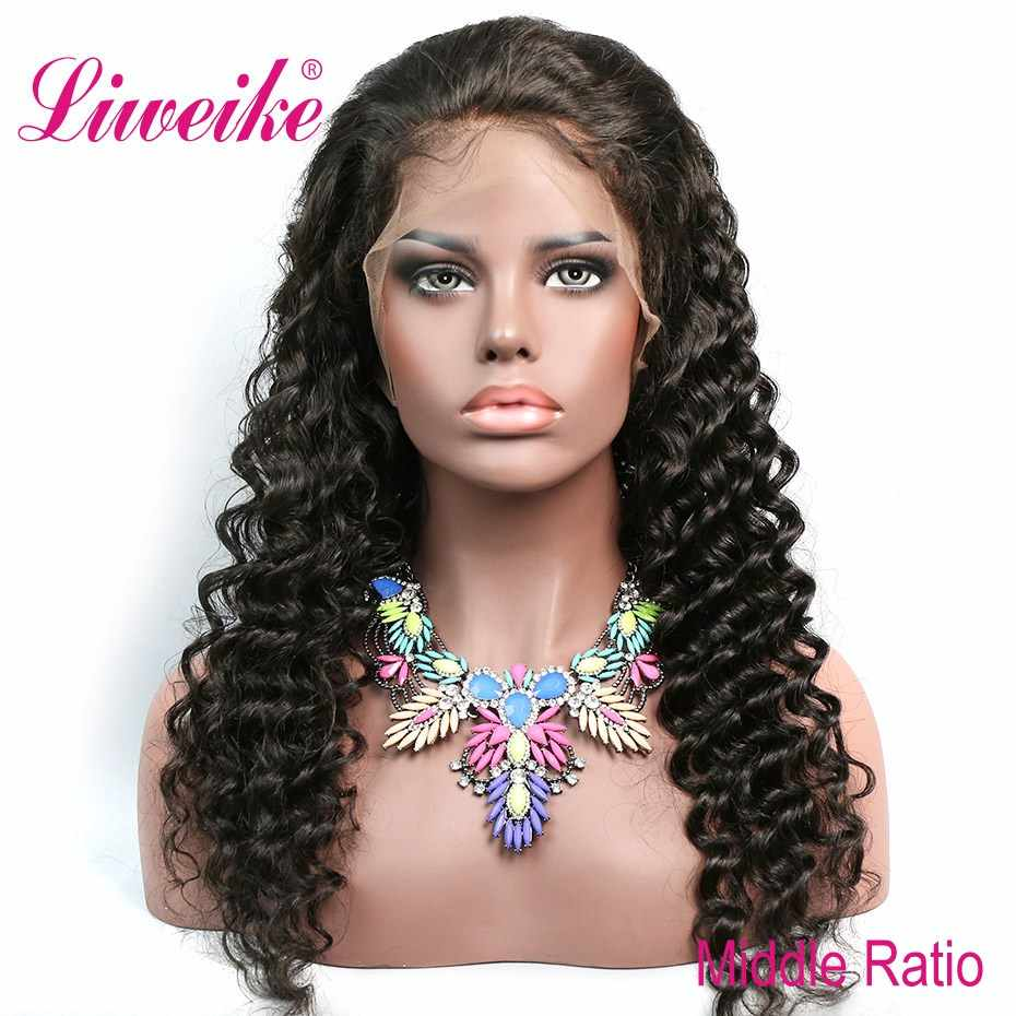 Liweike Hair Loose Wave 13*4 Medium Brown Lace Front Human Wigs Brazilian Remy Pre Plucked Wig #1B Color 150% Density Glueless