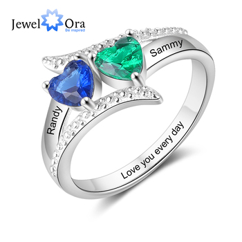 JewelOra Personalized Name Engrave Custom Ring with Heart Birthstone Silver Color Wedding Engagement Mother Rings Gift for Women uny ring 925 sterling silver mother customized engrave rings family heirloom ring anniversary personalized love birthstone rings